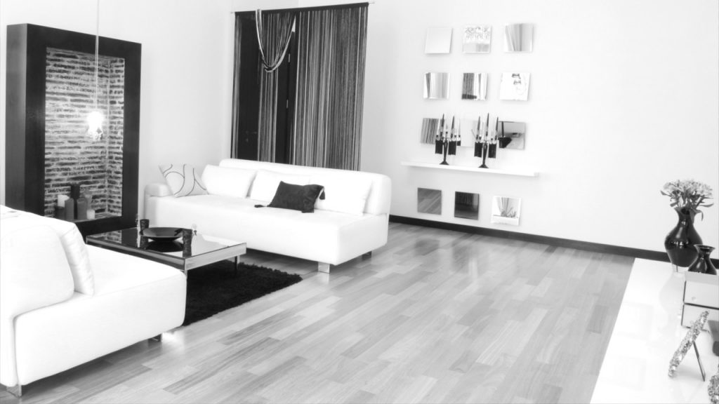 a black and white living room