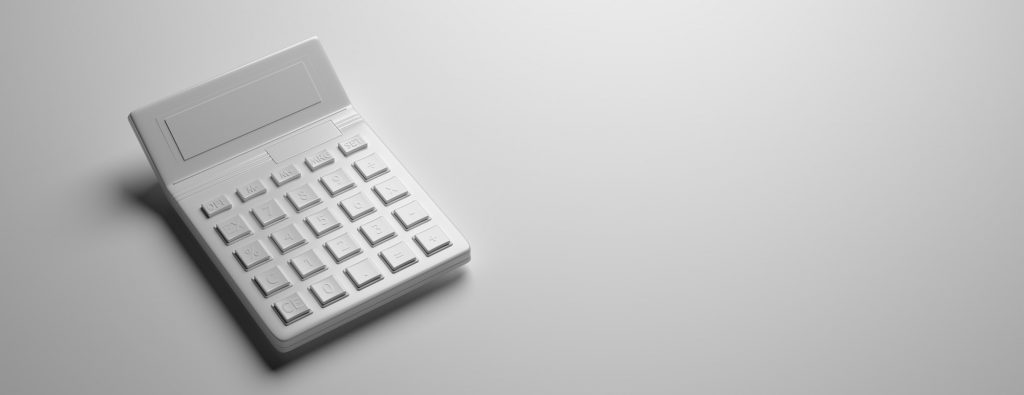 Calculator gray toned on gray background, 3d illustration