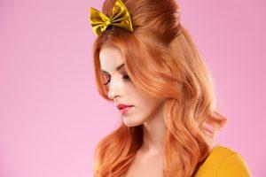 Fashion portrait sexy redhead Model, Makeup. Pinup