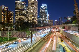 Downtown Los Angeles traffic at night
